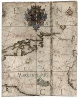 Universa ac navigabilis to / tius terrarum orbis descrip /tio, cum omnibus por /tubus, Ynsulis, fluviis, Promō /toriis, stationibus, Angulis, ac /sinibus, adicta certissima, tum / Latitudinis, tum longitudinis graduū /dimensione, ut nihil reliquum sit, quod ad / Yustum cosmographiae tractatum spectare videatur / Andreas Homo /cosmographus /luzitanus me / faciebat Antver /piae anno milles /simo quingentessi /mo quinquagessimo, nono