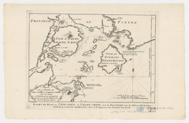 Carte de la baye de Chin-Cheouw ou Chang-Cheouw avec les isles d'Emowi et de Quemowi : dressée sur les divers manuscrits = Kaart der baal van Chin-Chew, of Chang-Chew, met de eilanden va A-mwi en Que-mwi