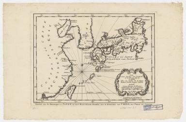 Carte des isles du Japon et la presqu'isle de Coree, avec les costes de la Chine depuis Pekin jusqu'a Canton = Kaart van de Eilanden van Japan, en van't Half-Eiland Koréa ; met de Kusten van China van Pekin tot Canton