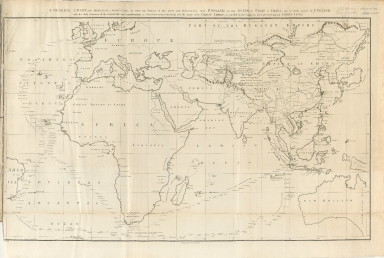 A general chart, on Mercator's projection, to shew the track of the Lion and Hindostan from England to the Gulph of Pekin in China, and of their return to England