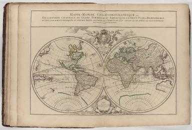 Mappe-monde géo-hydrographique, ou description générale du globe terrestre et aquatique en deux plans hémisphères, ou sont exactement remarquées en général toutes les parties de la terre et de l'eau, suivant les relations les plus nouvelles