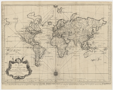 An essay of a new and compact map containing the known parts of the terrestrial globe = Essay d'une carte reduite contenant les parties connues du globe terrestre = Proef van eene aan-eengeschakelde kaart der bekende-deelen des gantschen aardbols