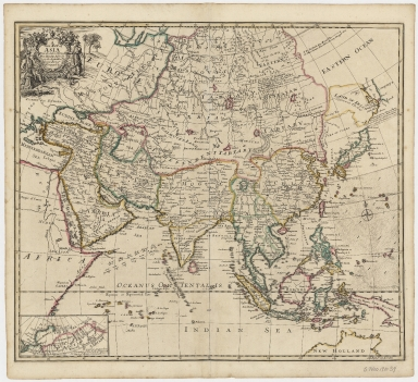 A new map of Asia, from the latest observations : most humbly inscrib'd to the Right Hon.'ble George, Earl of Warrington &c.
