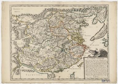 La Chine royaume : cette carte n'est quin abrege d'une autre tres belle, fort grande, et fort particuliere ...