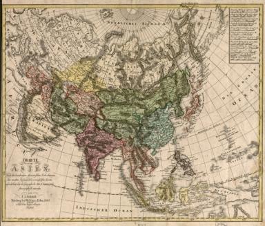 Charte von Asien : nach de bewährtesten astronomischen Beobachtungen den neuesten Reisen, und de vorzü̈glichsten Charten, insonderheit aber der Geographie de Hrn I.C. Gatterers. gemäss Stereographisch entworfen