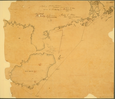 China: Swatow. Track chart, possibly based on Admiralty Chart 854, of the Naval Brigade and Boats commanded by Commodore Oliver J Jones against towns near Swatow, showing both shores of the Han river and the Chao Chao Foo creek.