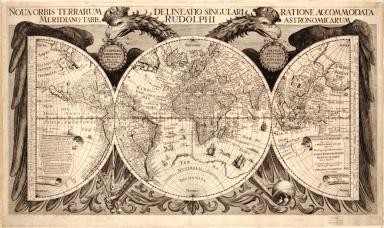 Noua orbis terrarum delineatio singulari ratione accommodata meridiano tabb. Rudolphi astronomicarum