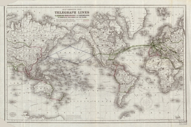 Map showing the telegraph lines in operation, under contract and contemplated, to complete the circuit of the globe