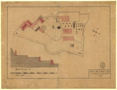 Planta e perfil da fortaleza da Barra de Macáo