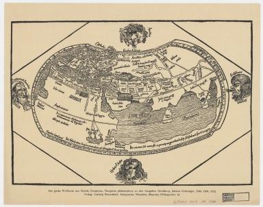 Die grosse Weltkarte aus Reisch, Gregorius : Margarita philosophica zu den Ausgaben Strassburg, Johann Grüninger, 1504, 1508, 1512