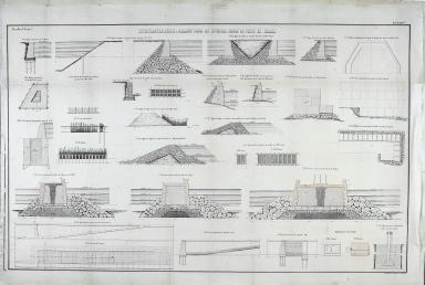 Tipos, plantas, perfis e alçados para as diversas obras do porto de Macau