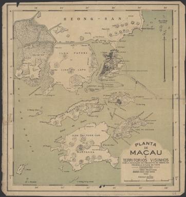 Planta de Macau e territorios visinhos com a indicação do projecto de obras na peninsula e ilha da Taipa