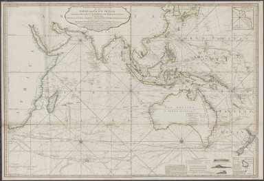 Laurie and Whittle's New chart of the Indian and Pacific Oceans between the Cape of Good Hope, New Holland and Japan : comprehending New Zealand, New Caledonia, New Britain, New Ireland, New Guinea &c., Louisiade and New Georgia; also The Pelew, New Caroline, Ladrone and Philippine Islands &c. with the most remarkable tracks of the English, Spanish, French and Dutch navigators and chiefly the track of the Walpole, EastIndiaman, Captn. Thos. Butler, 1794 from the Cape of Good Hope to Van Diemen's Land and from thence to China, and the track of the Royal Admiral Captn. Henr. Bond in 1792 and 93 from the Cape to Port Jackson and China
