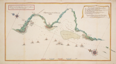 Map of the bay of Goa showing the blockade of Goa 1657-1658