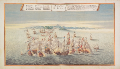 Sea battle off Goa between the Dutch and the Portuguese fleets in 1638