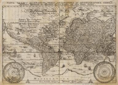 Nova totius terrarum orbis geographica ac hydrographica tabula = Wahre Bildtnüss des gantzen Erden Kraÿses mit allen seinen Theilen