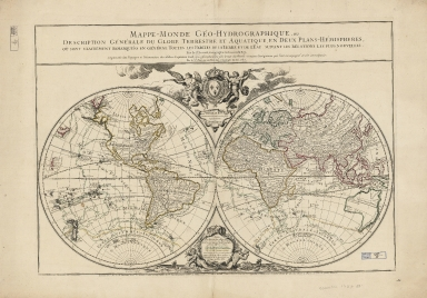 Mappe-monde géo-hydrographique, ou, description générale du globe terestre et aquatique : en deux plans-hémispheres où son exactement remarqueés en général toutes les parties de la terre et de l'eau suivant les relations les plus nouvelles