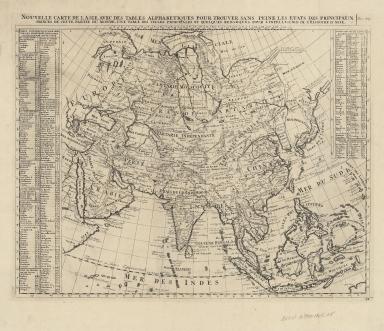 Nouvelle carte de l'Asie, avec des tables alphabetiques pour trouver sans peine les etats des principaux princes de cette partie du monde : une table des villes principales et quelques remarques pour l'intelligence de l'histoire de l'Asie