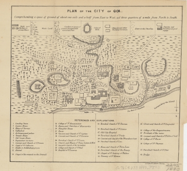 Plan of the city of Goa : comprehending a space of ground of about one mile and a half from east to west, and three quarters from north to south