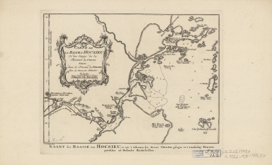 Carte de la baye d'Hocsieu et des entrées de la riviere de Chang situées dans la province de Fokyen : tirées de manuscrits hollandois = Kaart der baaije van Hocsieu, en van 't inkoomen der riviere Chang, gelegen in't lanschap Fokien