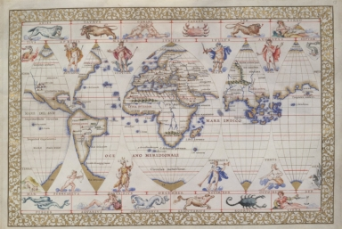 The World in five gores (decorated at top and bottom with signs of the zodiac and other figures)