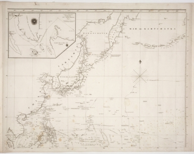 Map of the western Pacific ocean and the Asiatic coast