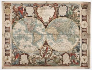 Mappe-monde : carte universelle de la terre, dressée sur les relations les plus nouvelles, soumises aux observations astronomiques les plus recentes ou sont marquées les nouvelles découvertes