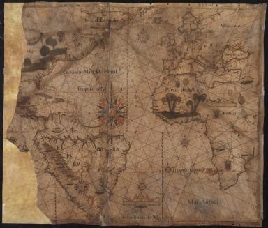 Carte nautique de l'Océan Atlantique, d'une partie de l'Océan Indien et d'une partie de l'Océan Pacifique