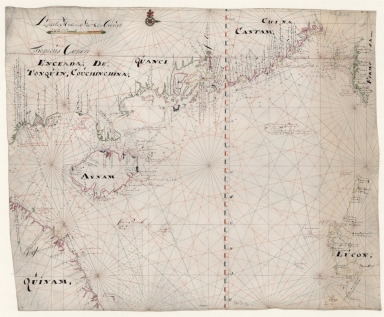 Carte marine hollandaise du XVIIIe siècle, comprenant les côtes de l'Annam, du Tonkin, de la Chine , l'île Haïnan et partie de Luçon