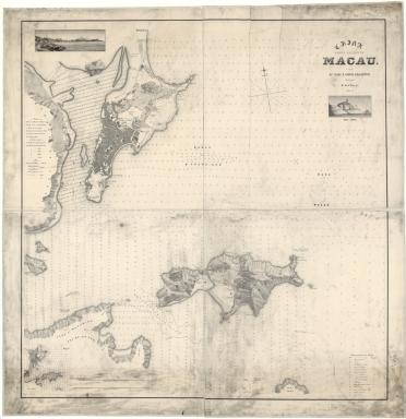 China, Costa de Leste. Macau com as ilhas e costas adjacentes