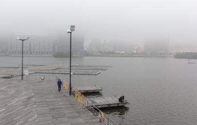 南灣湖一一帶霧景