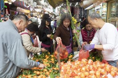 義字街,售賣過年水果的攤檔