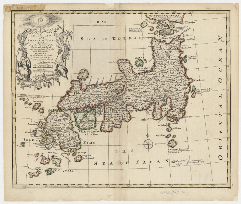 A new and accurate map of the Empire of Japan : laid down from the memoirs of the Portuguese and Dutch, and particularly from the Jesuit missionaries, as publish'd by the Sr. Bellin at Paris : being adjusted by astronomical observatns