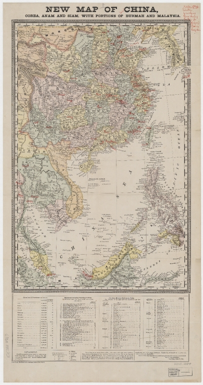 New map of China, Corea, Anam and Siam, with portions of Burmah and Malaysia