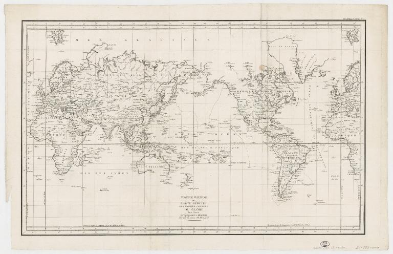 Mappemonde ou carte réduite des parties connues du globe pour servir au voyage de La Pérouse, fait dans les années 1785, 86, 87, et 88