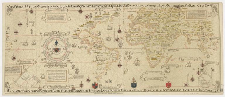 Carta Universal en que se contiene todo lo que del mundo se ha descubierto fasta agora, hizola Diego Ribero cosmographo de Su Magestad: Anõ de 1529