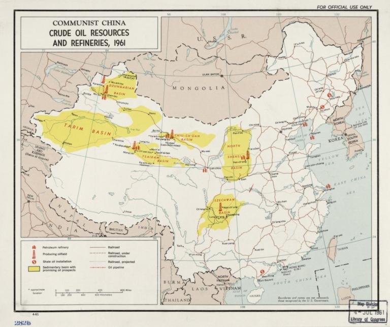 Communist China, crude oil resources and refineries