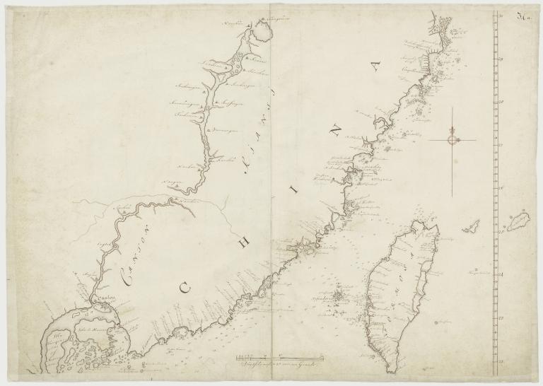 Kaart van een gedeelte der Chineese Zee en Kust, van Punta Lampa cao tot de Overveens Eilanden, het Eiland Formosa enz. Hierop komt mede voor de rivier van Canton, van den mond tot Fangsucis