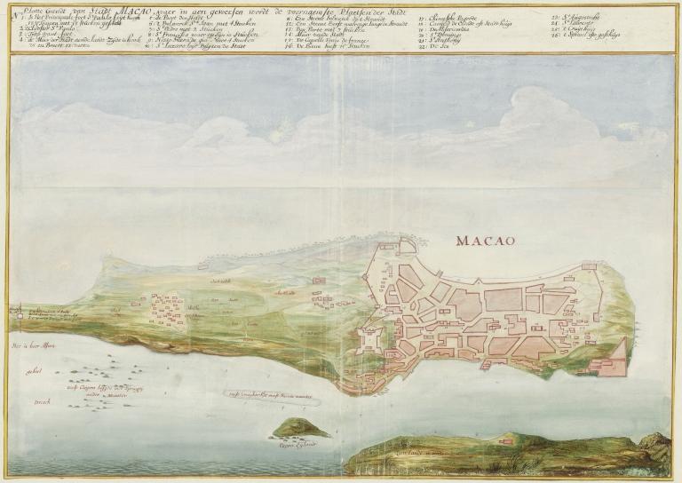 Platte Grondt van Stadt Macao, waer in aen geweesen wordt de voornaemste Plaetsen der Stadt