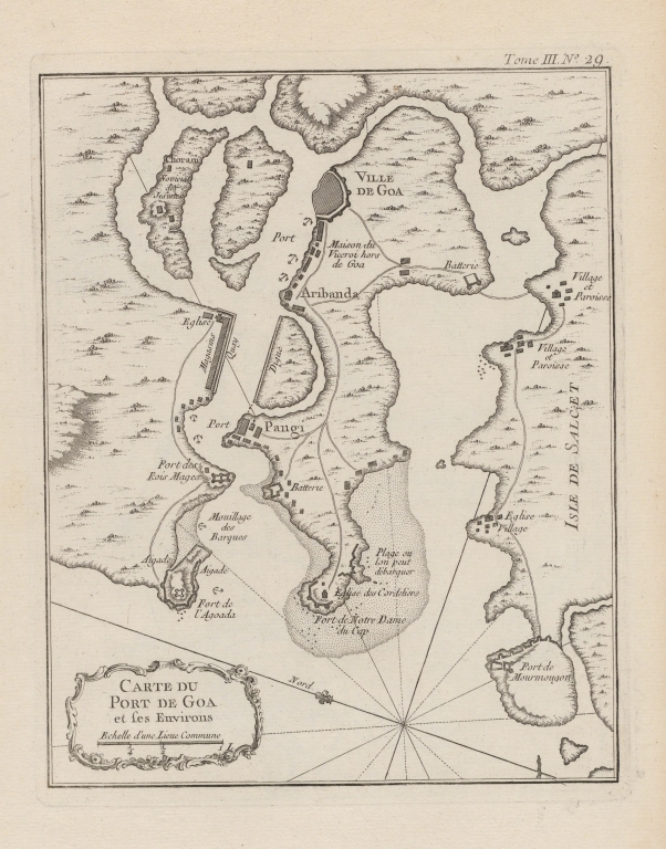 Carte du port de Goa et ses environs