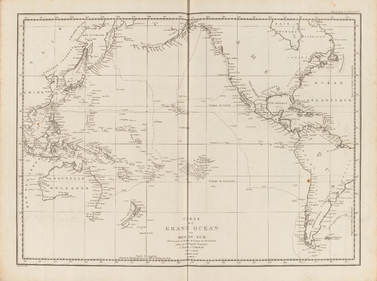 Carte du Grand Océan ou Mer du Sud : dressée pour la Relation du voyage de découvertes faites par les frégates françaises la Boussole et l'Astrolabe dans les années 1785, 86, 87, et 88