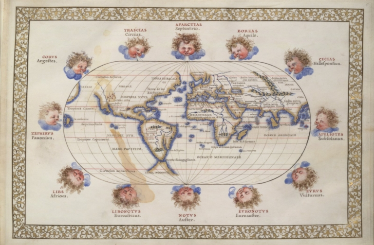 Oval map of the world with wind heads