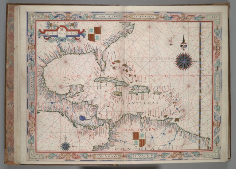 Fernão Vaz Dourado: West Indies, Central America, part of Mexico, and the southeastern United States.