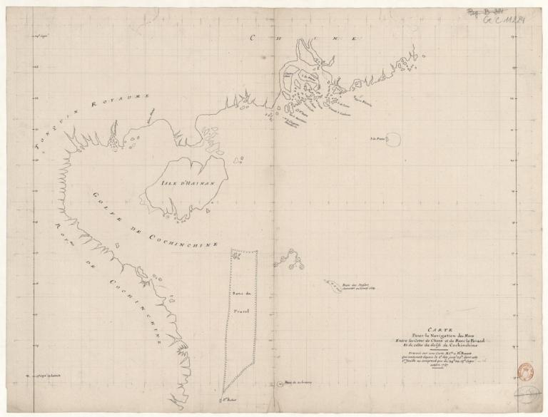 Carte pour la navigation des mers entre les cotes de Chine et du Blanc Le Paracel et de celles du golfe de Cochinchine