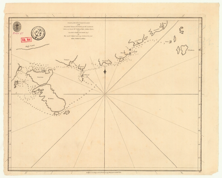 Chart of the southern coasts of the Islands between St. Johns and the Ladrone taken on board the Nassau, Capt[ain] Arthur Gore, and inscribed to Nathaniel Smith Esqr.