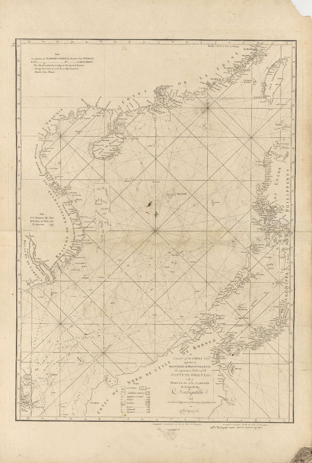 A chart of the China Sea : inscribed to Mons.r D'Aprés de Mannevillette the ingenious author of the Neptune Oriental, as a tribute due to his labours for the benefit of Navigation, and in acknowledgement of his many signal favours to Dalrymple.