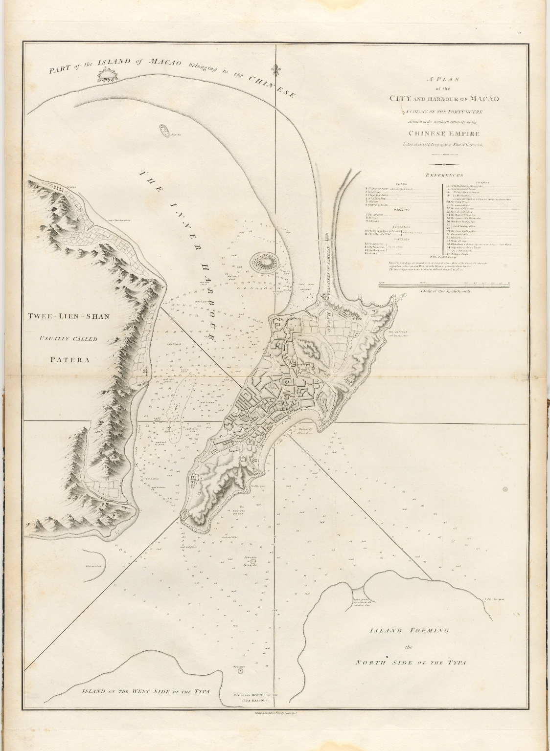 A plan of the city and harbour of Macao : a colony of the Portugueze, situated at the southern extremity of the Chinese Empire in Lat. 22 ⁰12ʹ44ʺ N., long. 113°35ʹ0ʺ east of Greenwich