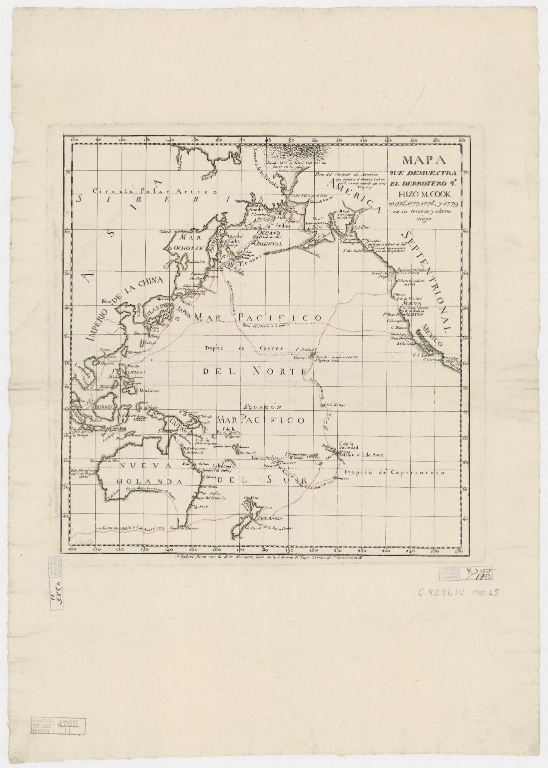 Mapa que demuestra el derrotero q[ue] : hizo M. Cook en 1776, 1777, 1778, y 1779 en su tercero y ultimo viaje