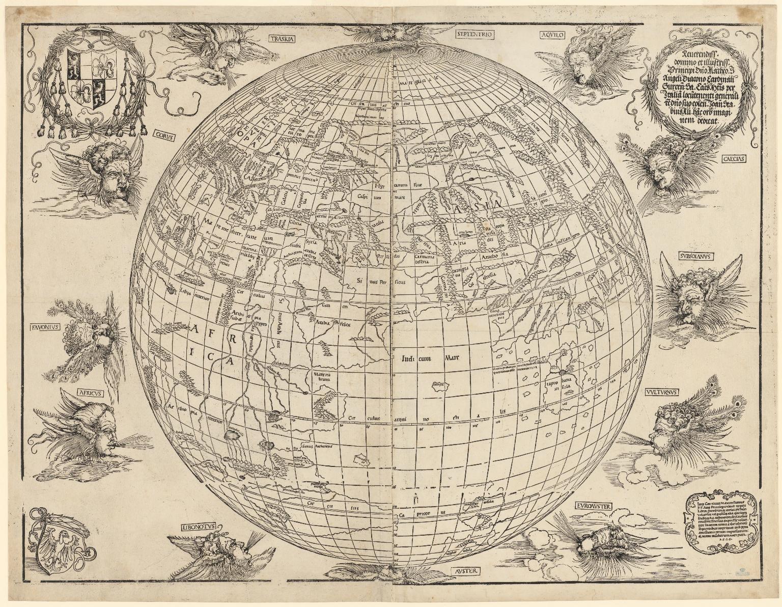 Eastern hemisphere of the terrestrial globe