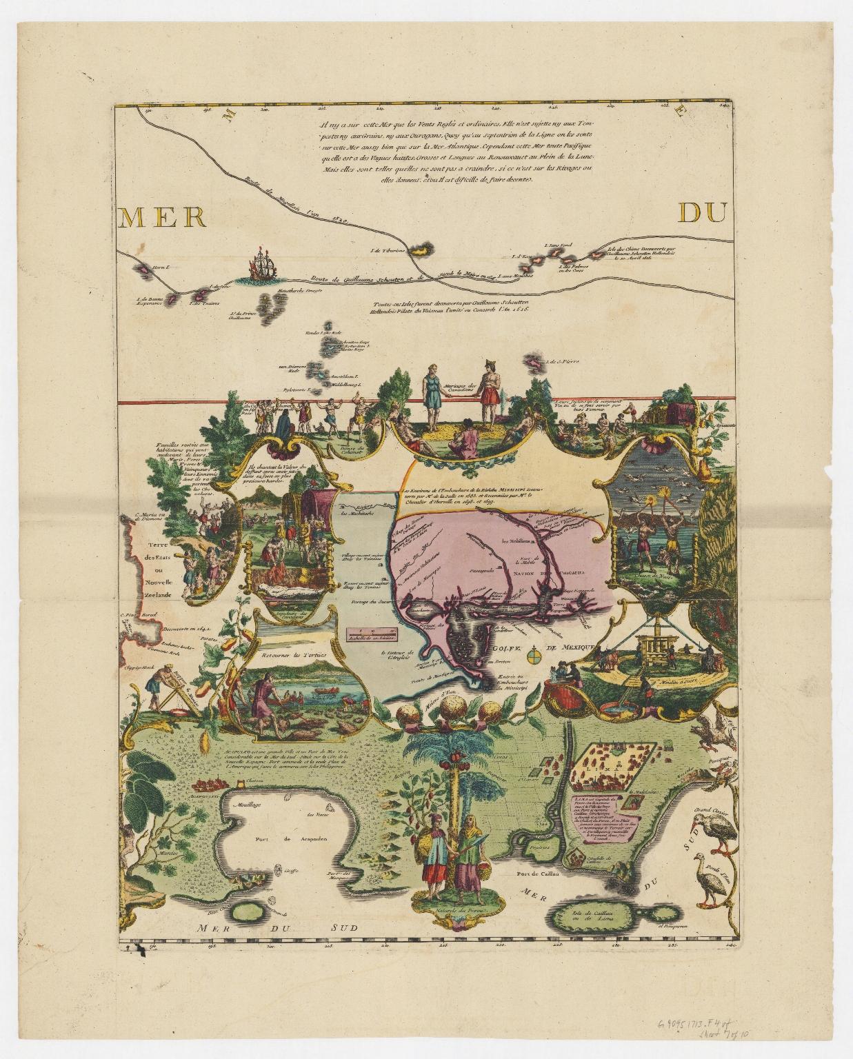 Carte de la Mer du Sud et de la Mer du Nord : ou se trouve les costes d'Amerique, d'Asie, d'Europe et d'Afrique situées sur ces mers. Part 7